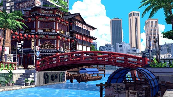 Pixel City - Low-Fi stylized environment 3D Model