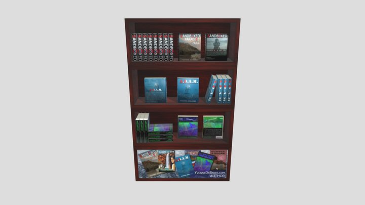 Bookcase - Tall with books 3D Model