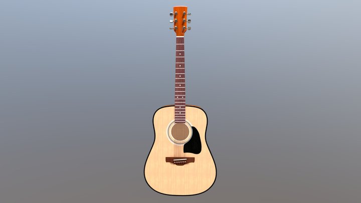 Acoustic guitar (High-poly) 3D Model