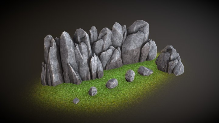 Low-poly set of rock formations 3D Model