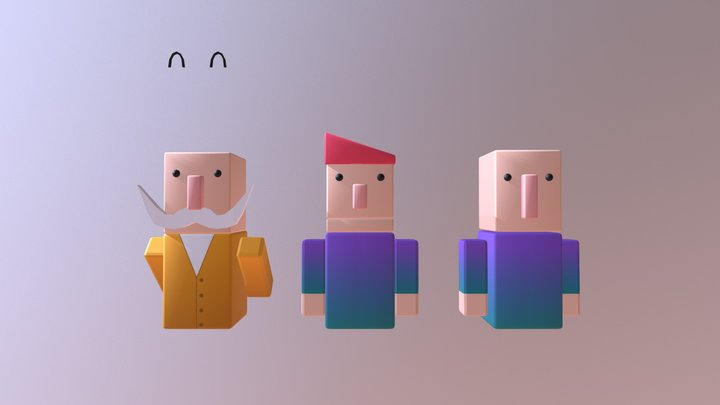 Low Poly People 3D Model