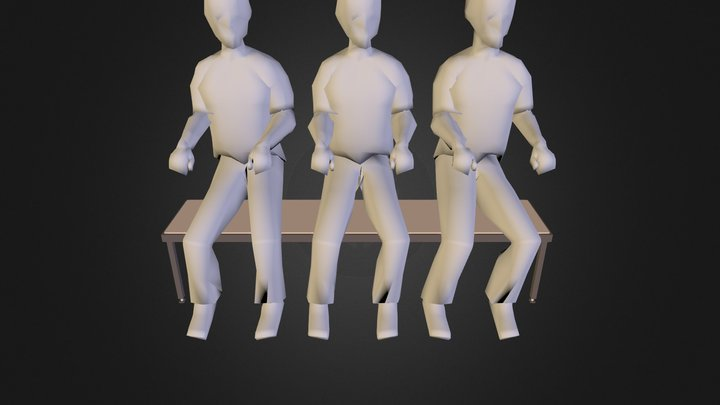half-bench-people 3D Model