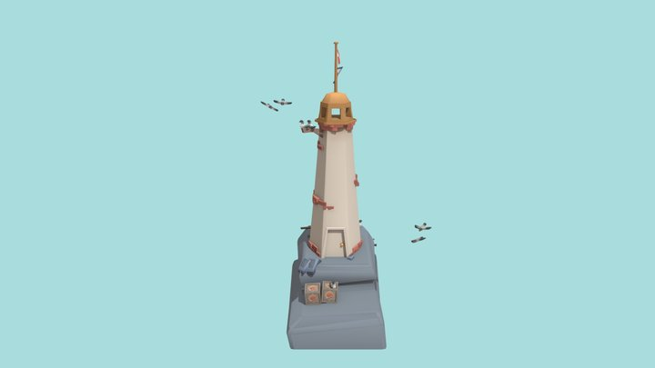 Low Poly Lighthouse 3D Model