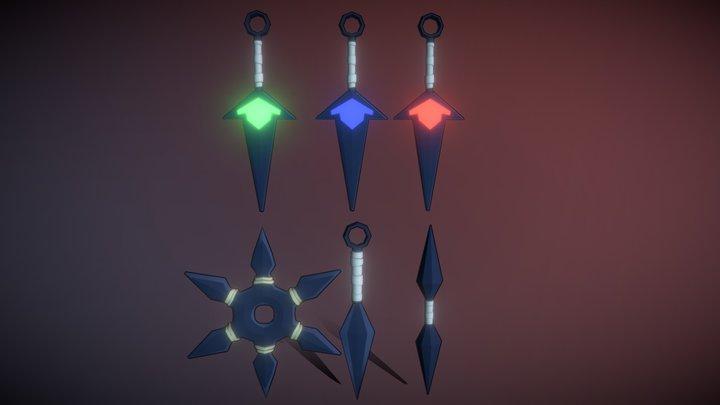 Kunais Knife Weapons Stylized Ninja/Armas Ninja 3D Model
