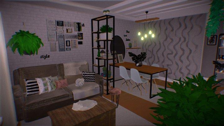 Living Room 3 Isometric LowPoly 3D Model