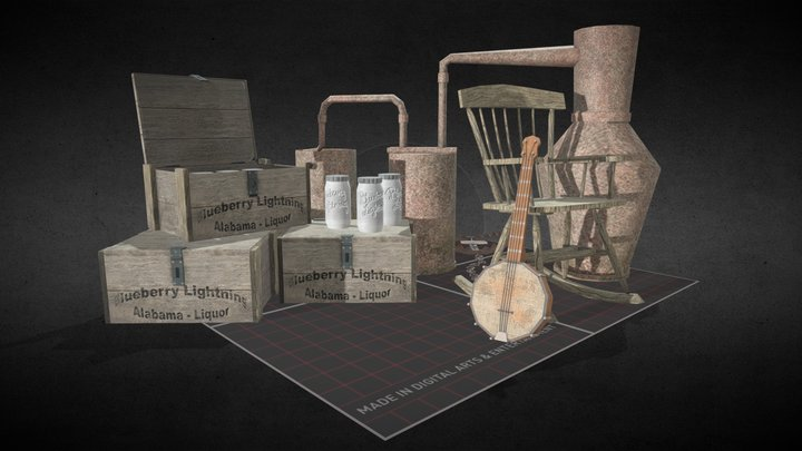 5 Finished Hillbilly Props QWEEK 3D Model