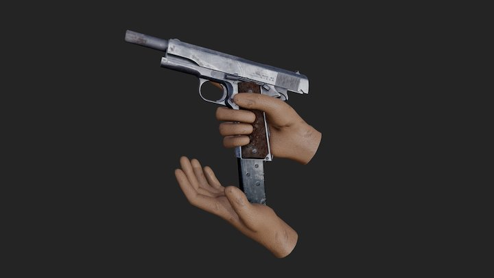 Colt M1911A1 First Person Reload Animation 3D Model