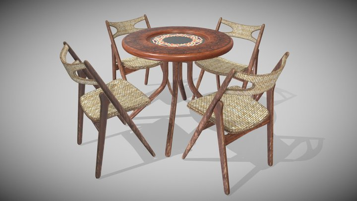 Set Table and Chair 3D Model