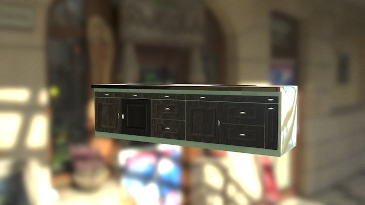 KITCHEN RETRO MEUBLE BAS 3D Model