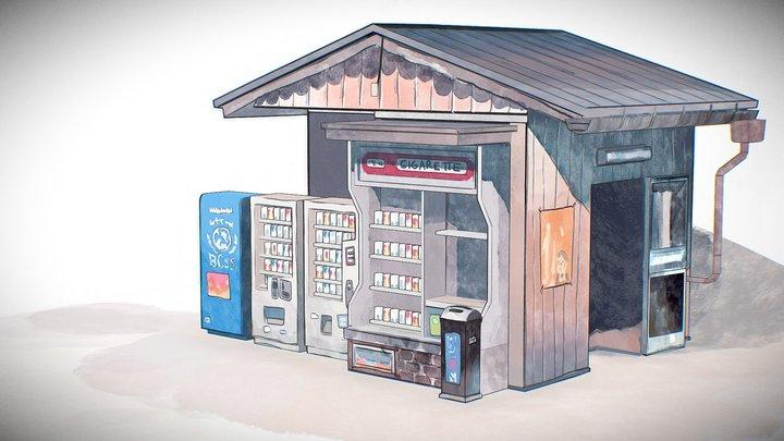 Cabin Vendor Watercolor Scene 3D Model