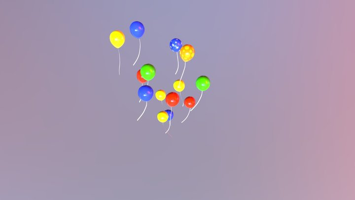 Ballons animated 3D Model