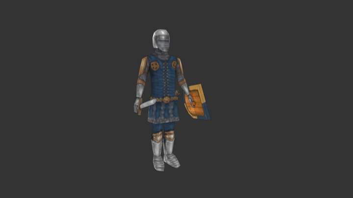Medieval knight (low poly) 3D Model