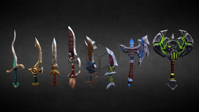 Hand painted weapon practice 3D Model