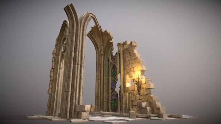 Gothic tracery ruins 3D Model
