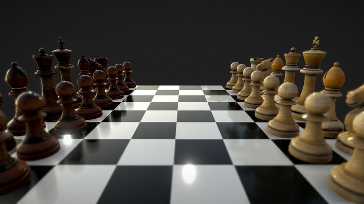 Chess Pieces wood damaged 3D Model
