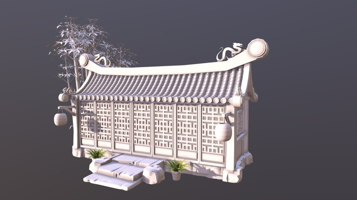 Concept sketch of a fantasy asian house 3D Model
