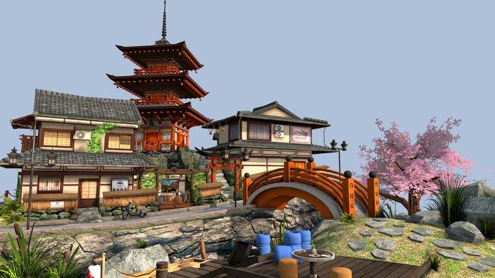 Kyoto City Scene 3D Model