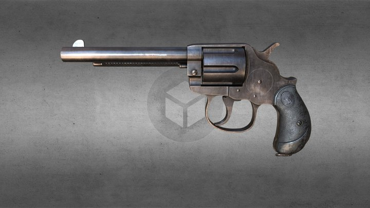 Worn Revolver 3D Model