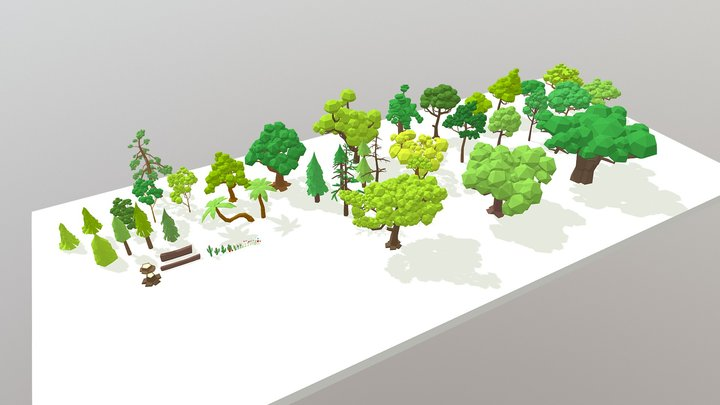 LowPoly Trees and Plants Pack 3D Model