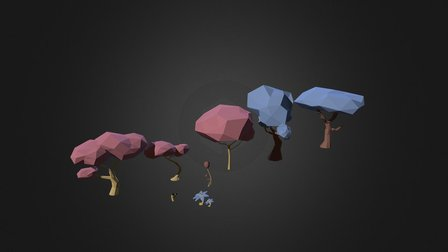 Pack Of Low Poly Nature 2 3D Model
