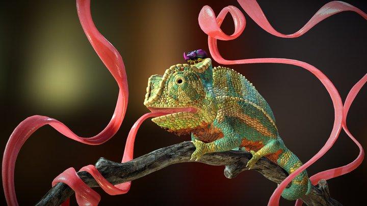 Tongue Twisted Chameleon 3D Model