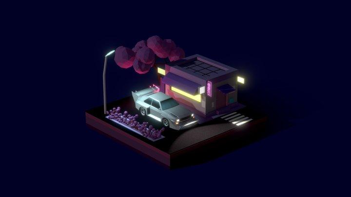 Japan Neon Night Audi Quattro Pikes Peak 3D Model