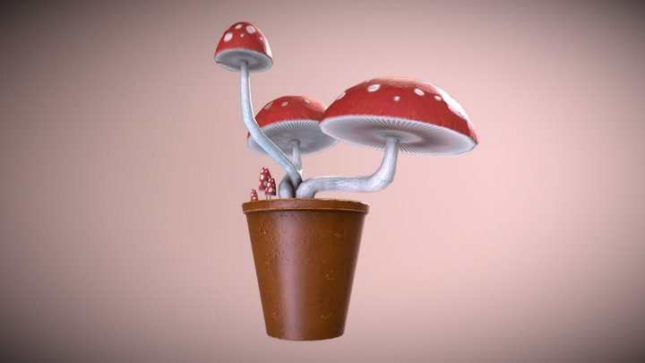 Amantia Muscaria (Kind of) in A Pot 3D Model
