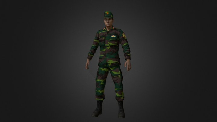 Viet Nam Army Ground Forces Officer 3D Model