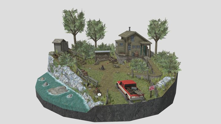 Forest Loner Diorama 3D Model