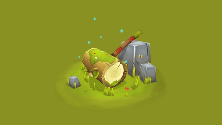 Great Log Hammer - Fantasy Hand Painted Weapon 3D Model