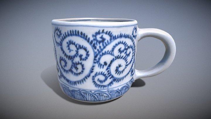 蛸唐草文様を描いたマグカップ (Sometsuke Style Mug Cup) 3D Model