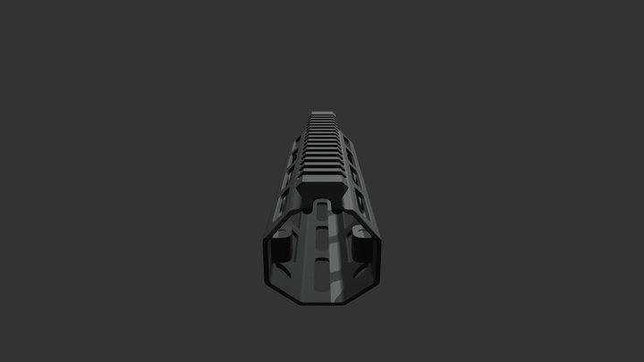 Mlok Handguard Carbine Length 3D Model