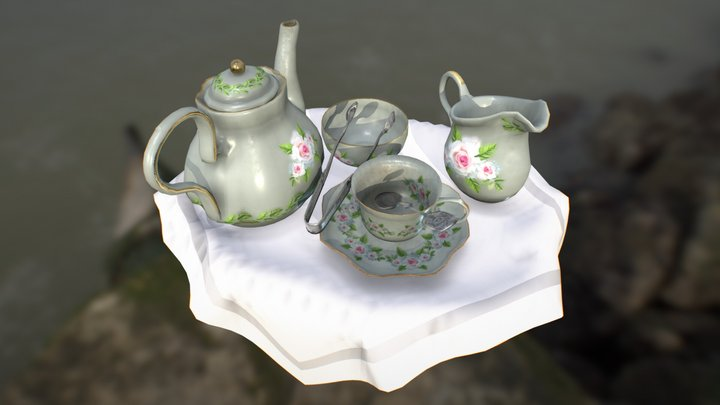 Classical Teaset with Tray 3D Model
