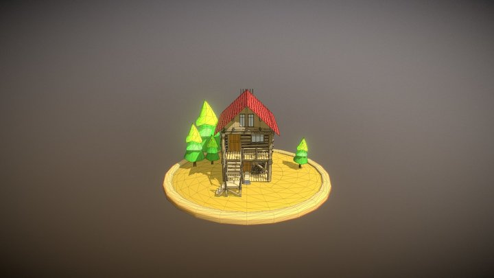 Cabin into forest 3D Model