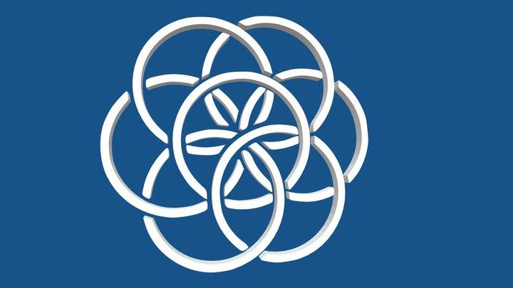 Planet earth flag symbol 3D Model