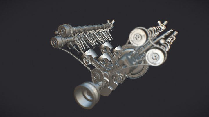 Mercedes-AMG Engine - M157 5.5 L V8 Bi-Turbo 3D Model