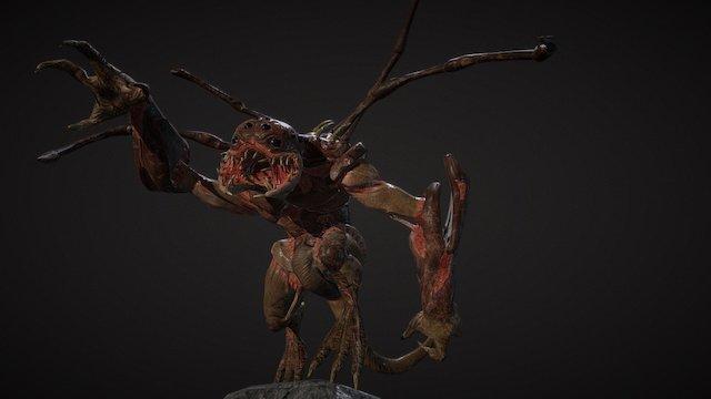 "Sci-fi ""Spider Lizard"" creature - posed 3D Model"