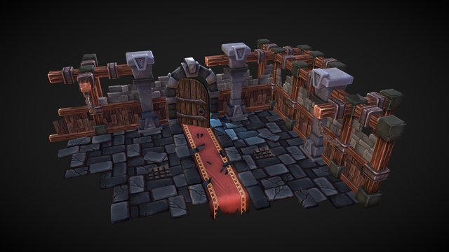Stylized Dungeon Scene 3D Model