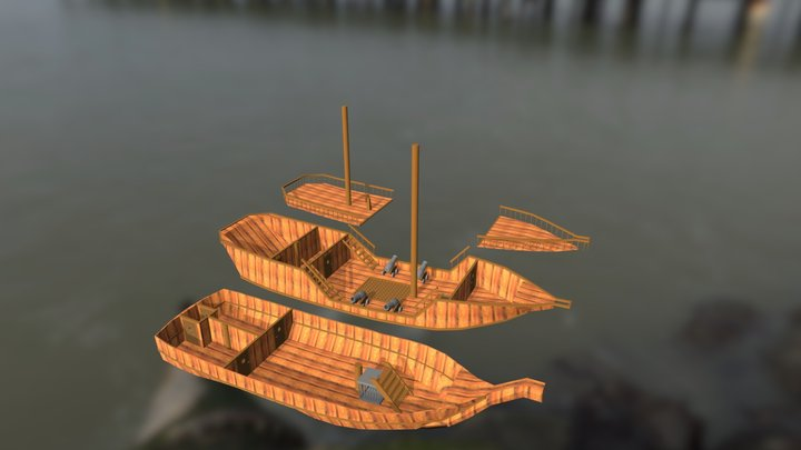 Small Galleon Exploded View 3D Model