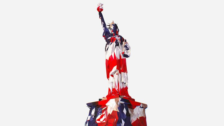 Low Polygon Art USA Flag color Liberty Statue 3D Model