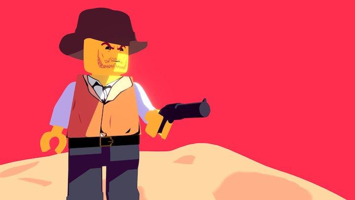 Clint Eastwood Cel Shaded Lego 3D Model