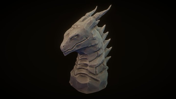 Dragon statue Stylized (just color) 3D Model