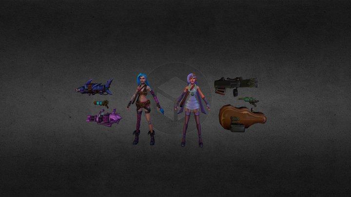 Jinx Base and Jinx Mafia - League of Legends 3D Model