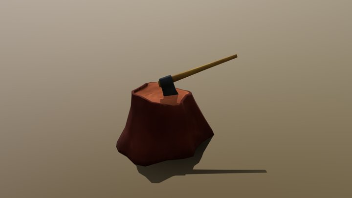 Axe And Stump 3D Model