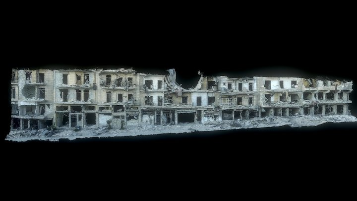 Aleppo: Destroyed Building Front 3D Model