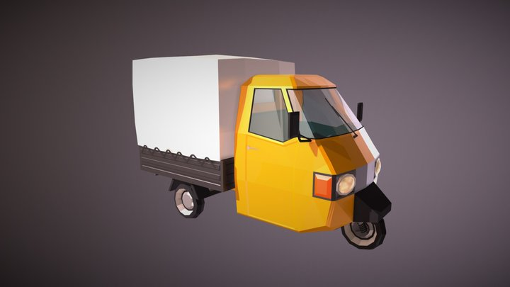 Low Poly Three Wheeled Truck 3D Model