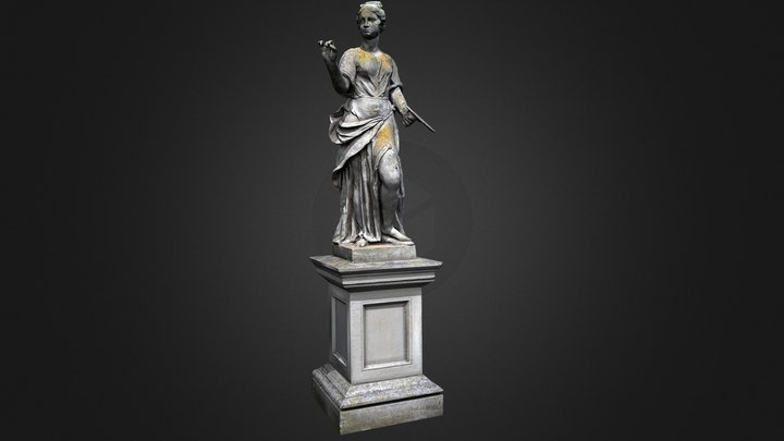 Statue with palette 3D Model