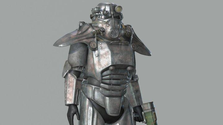 Fallout: T-45d Power Armor (.blend file in desc) 3D Model