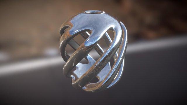 Iron Rhino - Spiral Cage - Silver Pendant 3D Model