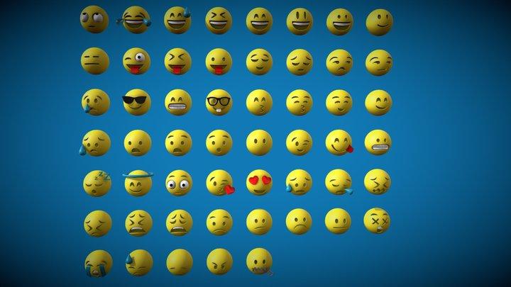 Emoji Pack - 53 Models 3D Model